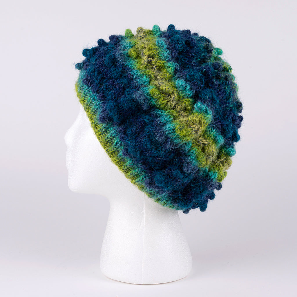 Hand Knit Hat in Blue and Lime Green