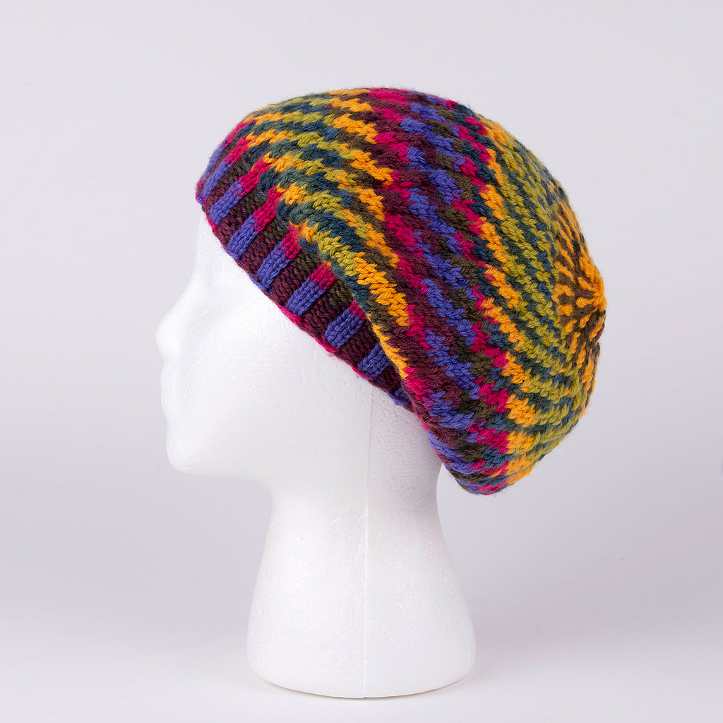 100% Wool Hand Knit Hat in Multiple Color Stripes