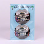Set of 2 Divot Car Coasters of Flagler Avenue in New Smyrna Beach