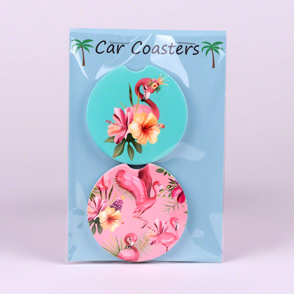 Set of 2 Divot Car Coasters with Flamingo Flower