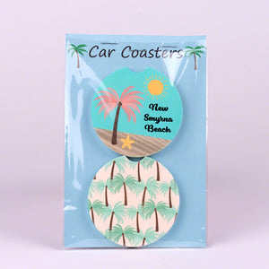 Set of 2 Sandstone Divot Car Coasters with Palm Trees