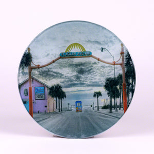 "Flagler Avenue 8"" Round Tempered Glass Cutting Board"