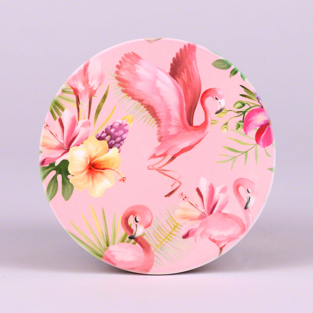 Set of 4 Round Coasters with Flamingo Pattern Design