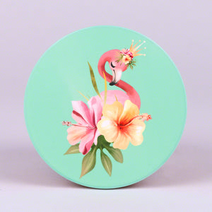 Set of 4 Round Home Coasters with Flamingo and Flower Design