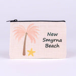Small Linen Zipper Bag with Pink Palm Tree (name drop:   New Smyrna Beach)