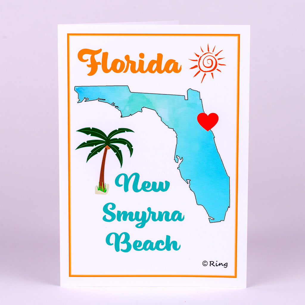 Art Notecard with Florida State with heart located at New Smyrna Beach location
