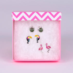 Trio Stud Silver Plated Earrings (flamingo, toucan and sea turtle)
