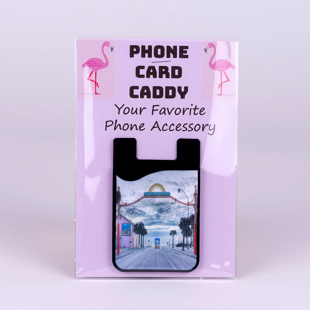 Phone Card Caddy with Flagler Avenue Entrance Image in New Smyrna Beach Florida