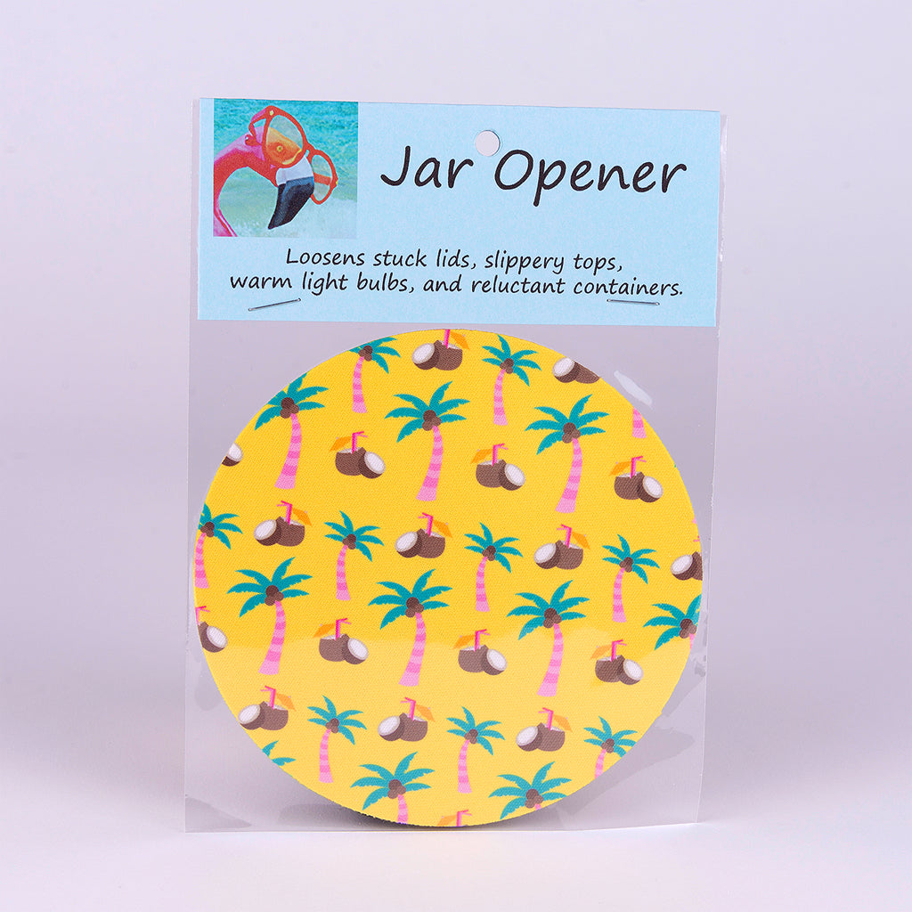 Rubber Jar Opener with Palms Trees and Coconuts