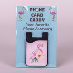 Your favorite Flamingo Phone Accessory.  A two-in-one silicone phone pouch fits credit cards, IDs, or cash with a removable microfiber screen cleaner.