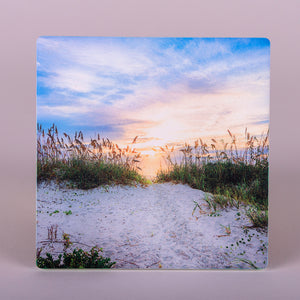 "absorbent stoneware ""Divine Light"" coasters  view of the beach with sea oats"