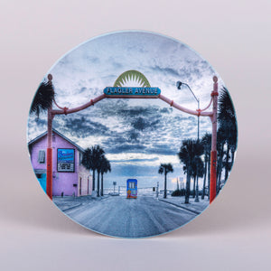 "absorbent stonewares ""Flagler Avenue"" round coasters in New Smyrna Beach"