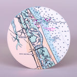 "Absorbent stoneware ""New Smyrna Beach Nautical Chart"" round home coasters."