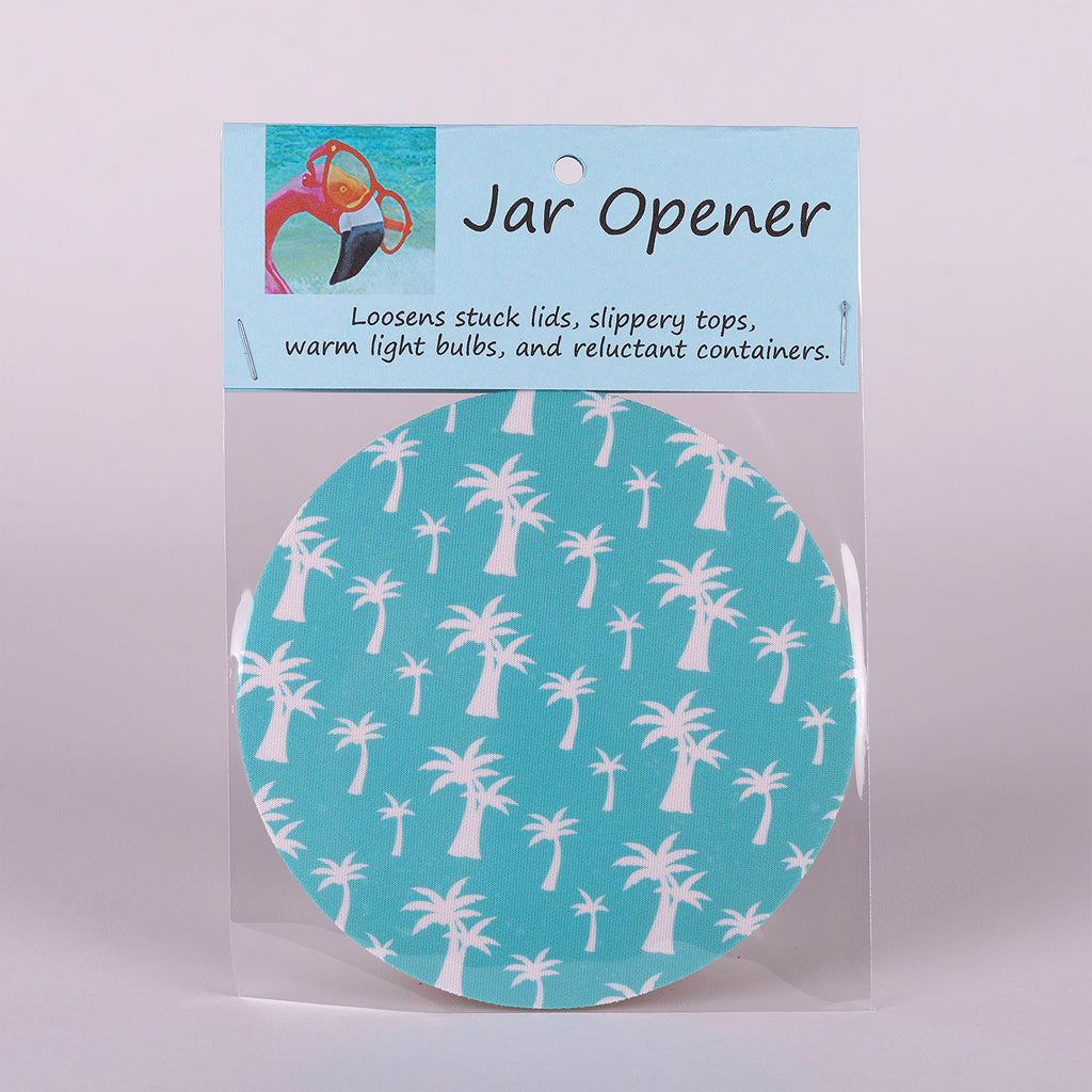 This decorative blue palm trees jar opener loosens stuck lids, slippery tops, warm light bulbs, and reluctant containers.