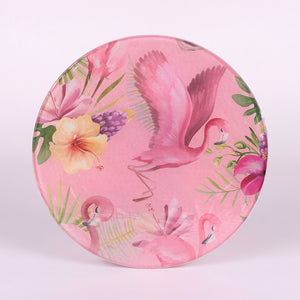 Pink Flamingo Round Cutting Board