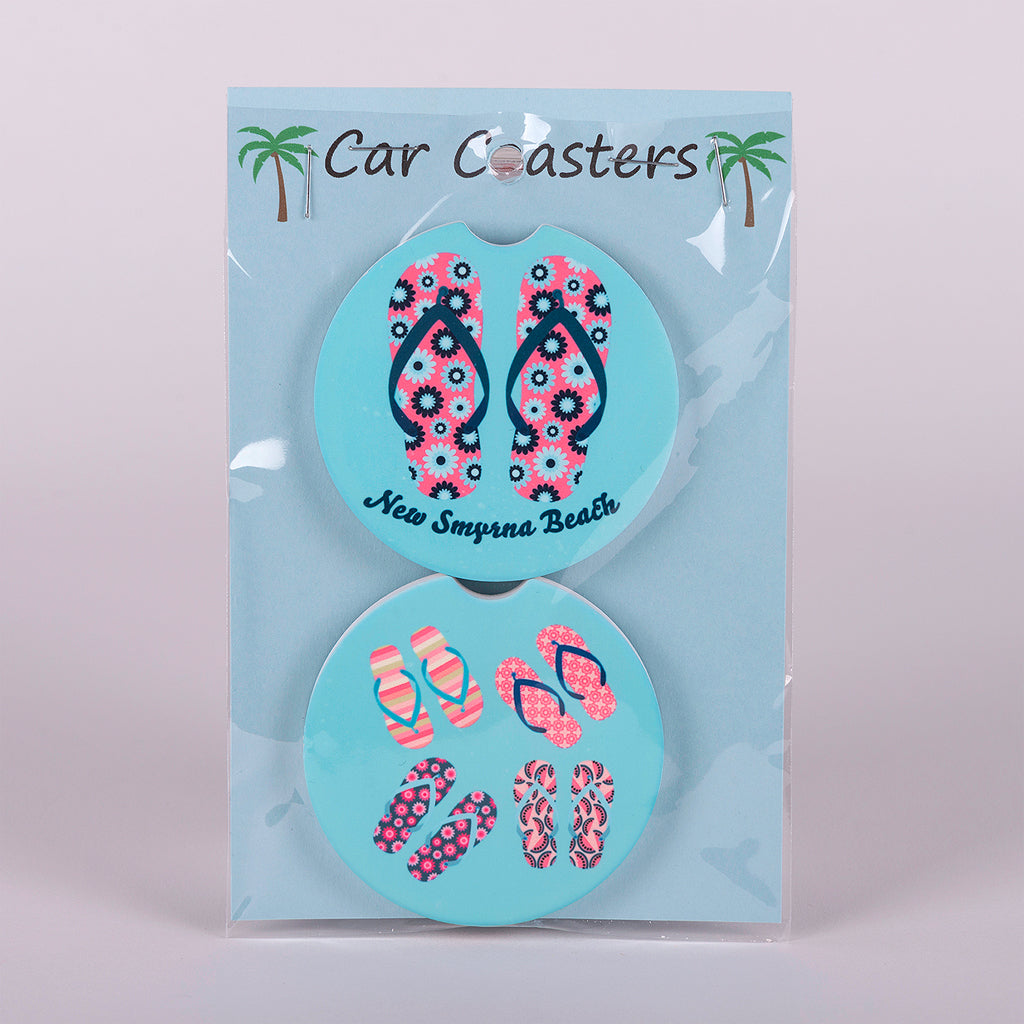 "Absorbent stoneware ""Flip Flop"" car coasters set of 2"