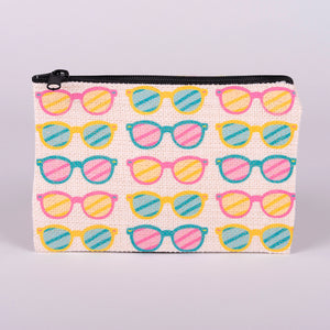 Small Zipper Bag-Sunglasses (polyester linen material with zipper)