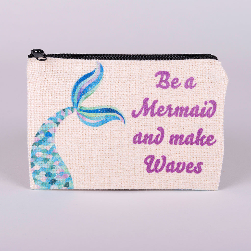 Small Zipper Bag-Blue Mermaid Tail with words Be a Mermaid and make waves made with polyester linen with zipper