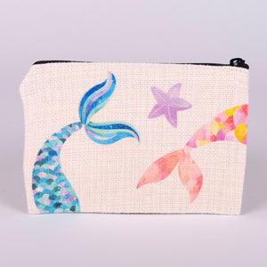 Small Zipper Bag-2 mermaid tails and starfish made with polyester linen with zipper