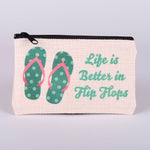 Small Zipper Bag-Blue Flip Flops with words Life is better in flip flops made with polyester linen with zipper