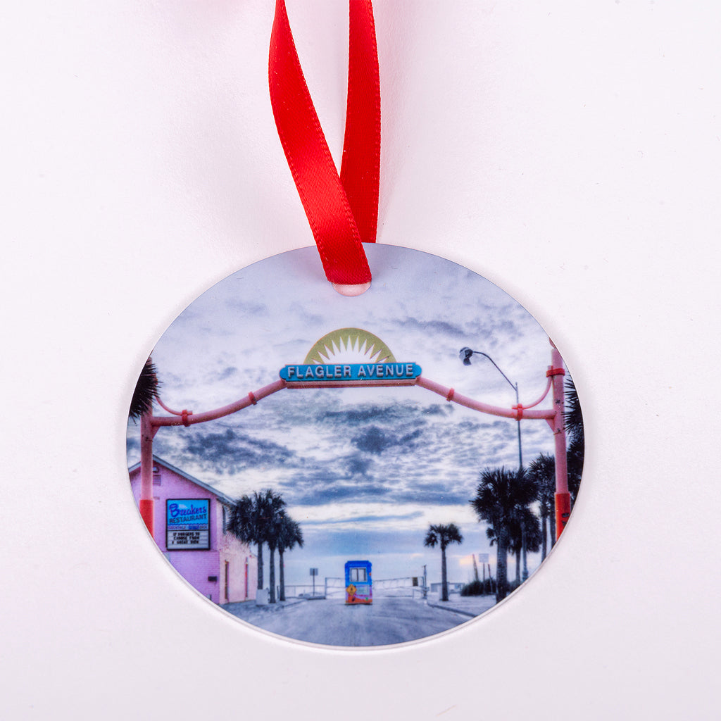Flagler Avenue Aluminum Ornament with Red Ribbon (New Smyrna Beach Location)