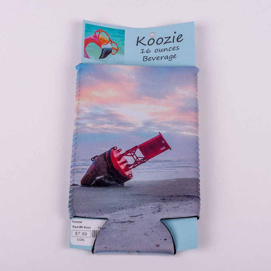 16 ounce Koozie (Image: Red Buoy on the beach in New Smyrna)