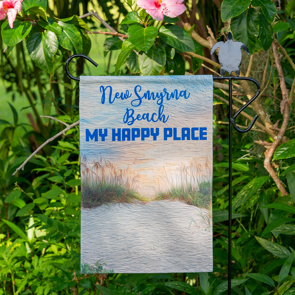 "12""x18"" Polyester Linen Beach Dunes Garden Flag with location specific-New Smyrna Beach My Happy Place"