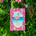 "12""x18"" Polyester Linen Pink Flamingo and Palm Trees Garden Flag"