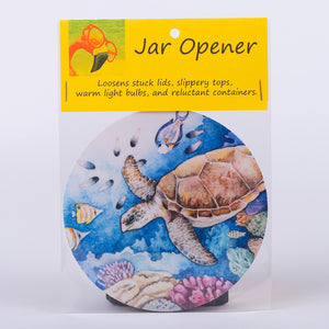 "5"" Jar Opener of a graphic sea turtle in the sea"