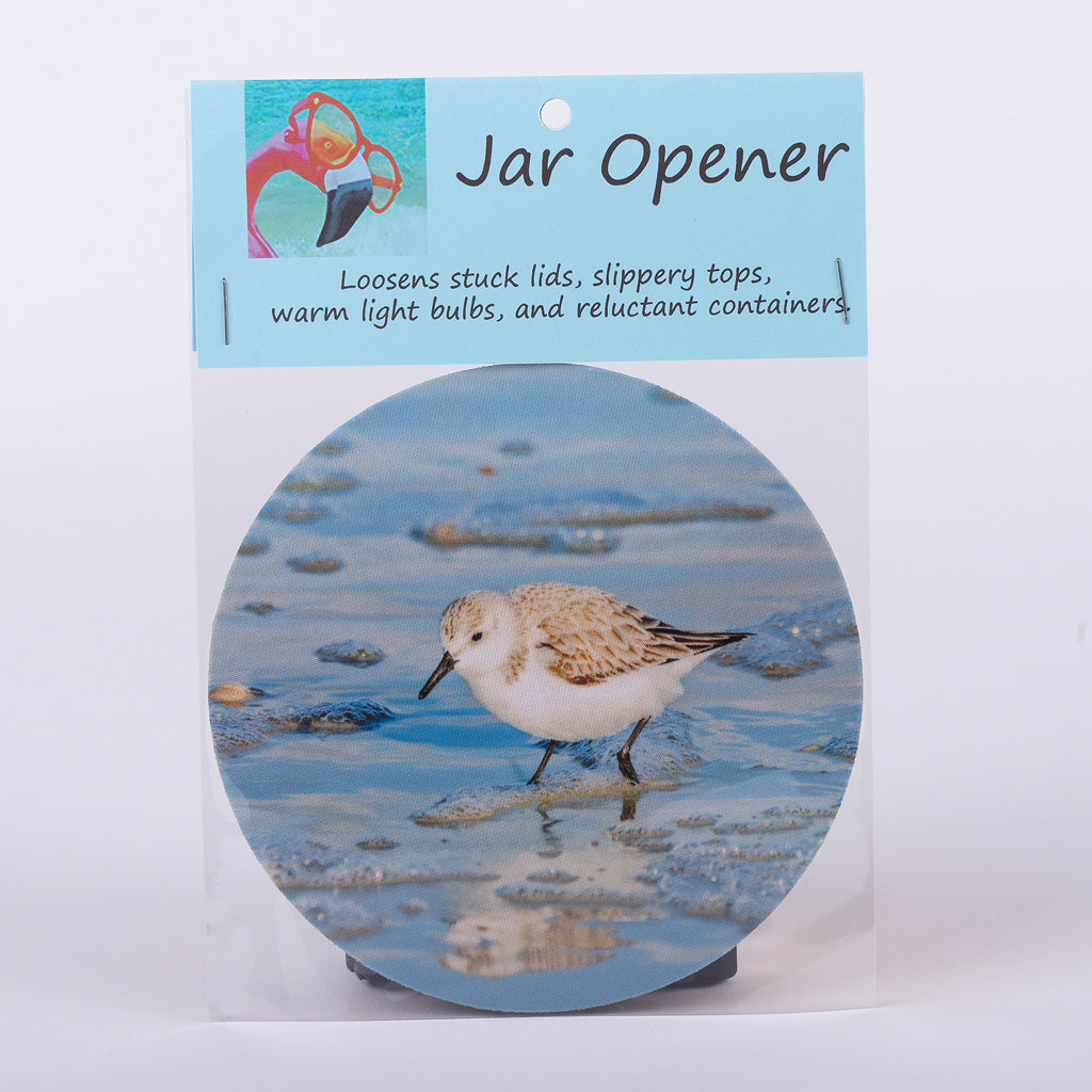 "5"" Jar Opener of a Sandpiper in beautiful blue water"