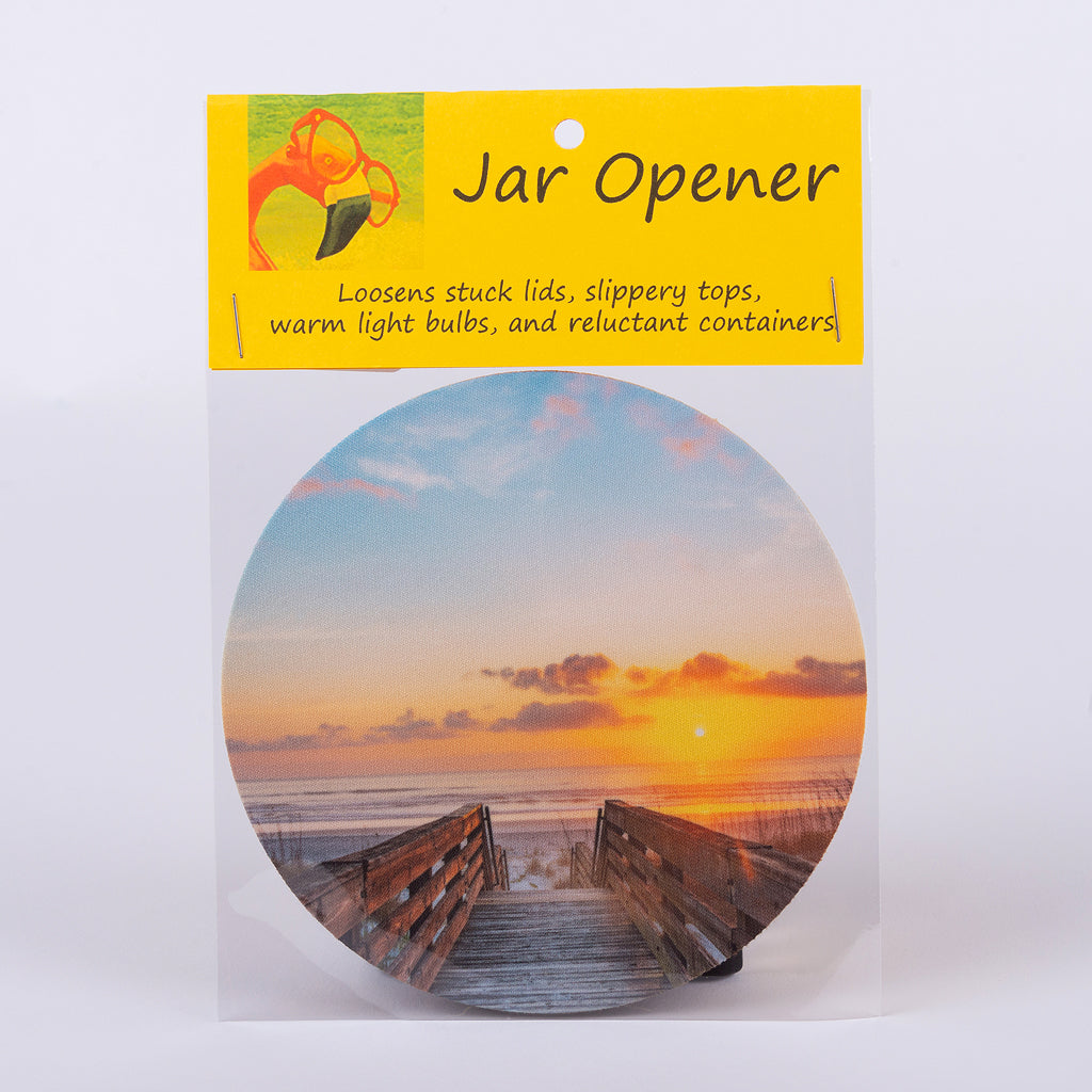 "5"" Jar Opener of a broadwalk to the beach at sunset"