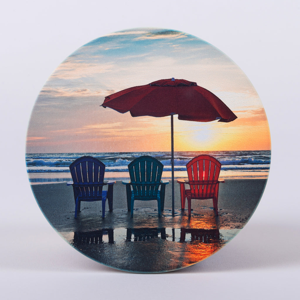 3 Chairs on the Beach with Umbrella Round Home Coaster