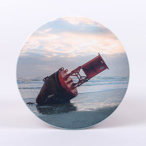 Large Red  Buoy landed on New Smyrna Beach Photographic Home Coasters