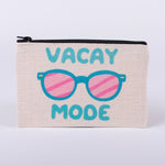 Vacay Mode with Sunglasses small linen zipper bag