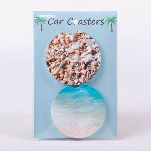 Set of 2 Car Coasters of the beach and shells