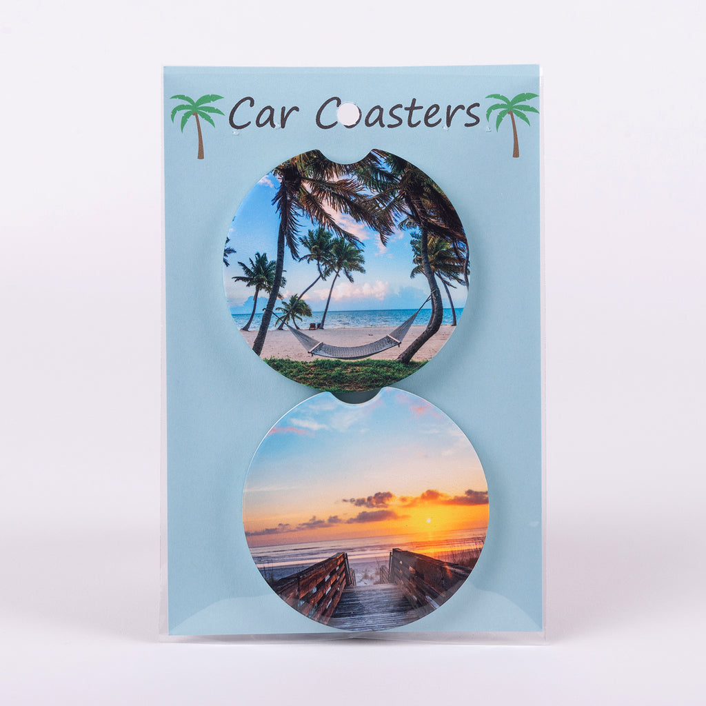 Set of 2 Car Coasters of the beach broadwalk and hammock on the beach