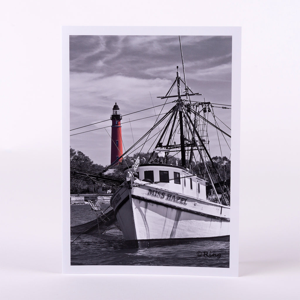"Miss Hazel shrimp boat anchored by the Ponce Inlet Lighthouse on a 5""x7"" glossy notecard-blank inside (image is black & white and color)"