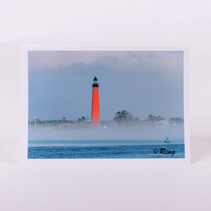 Ponce Inlet Lighthouse Fog Notecard