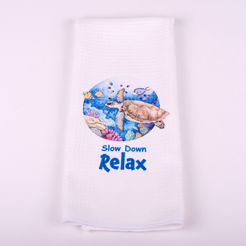 "Kitchen Waffle Towel with Sea Turtle Slow Down Relax (Beach Happy) 16""x 25"""