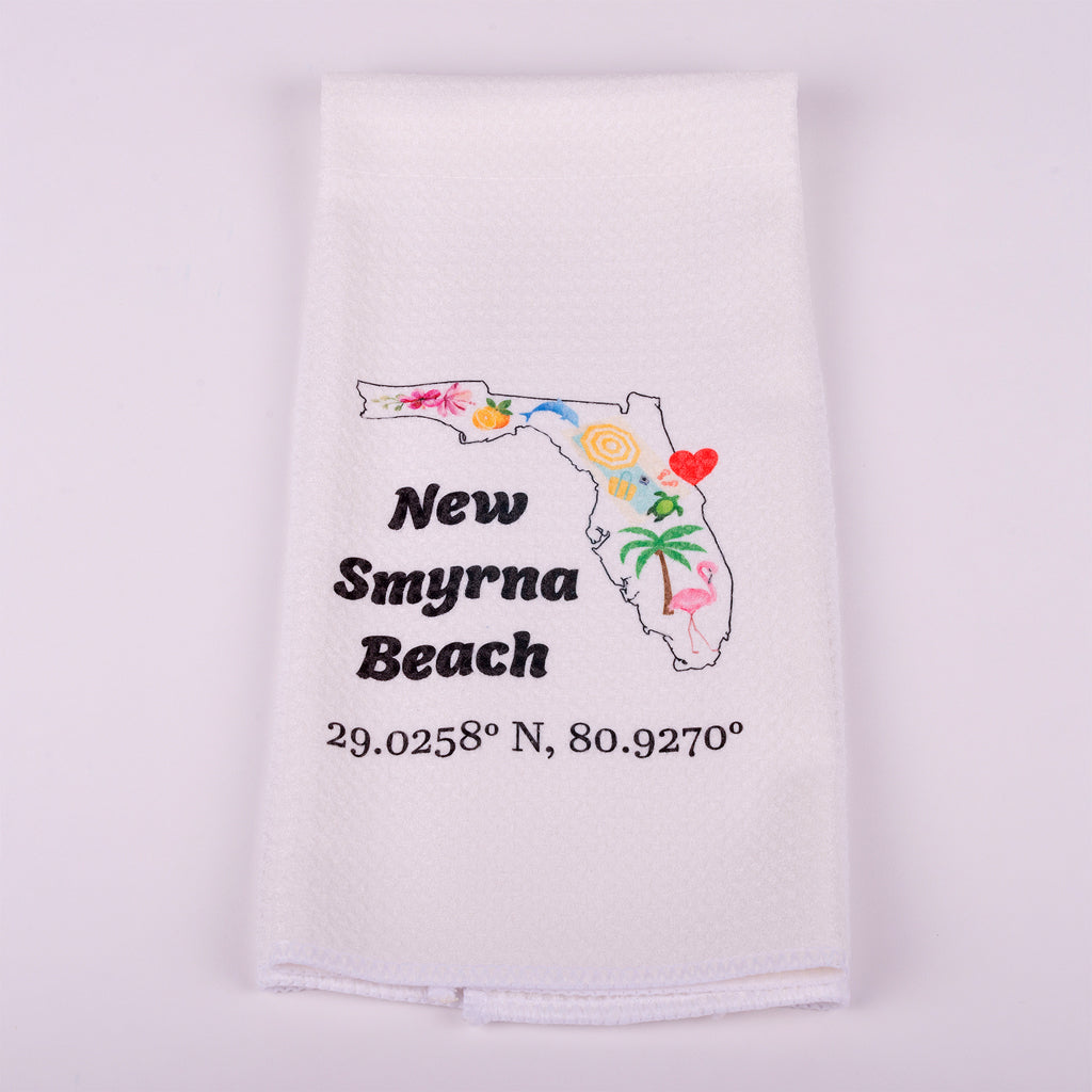 "Kitchen Waffle Towel-State of Florida with nautical degrees for New Smyrna Beach 16""x25"""