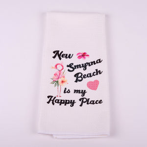 "Kitchen Waffle Towel-NSB is my Happy Place with Flamingo and Heart 16""x25"""