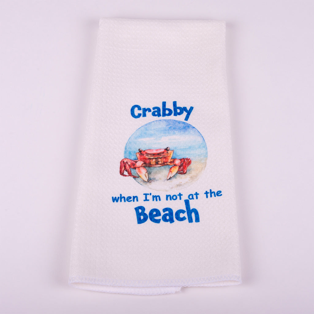 "Waffle Towel with Crab Image (Crabby when I'm not at the Beach) 16"" x 25"""