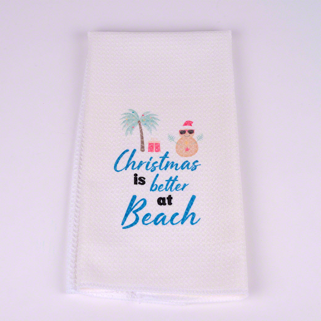 A sand snowman Christmas is better at the beach  waffle dish towel