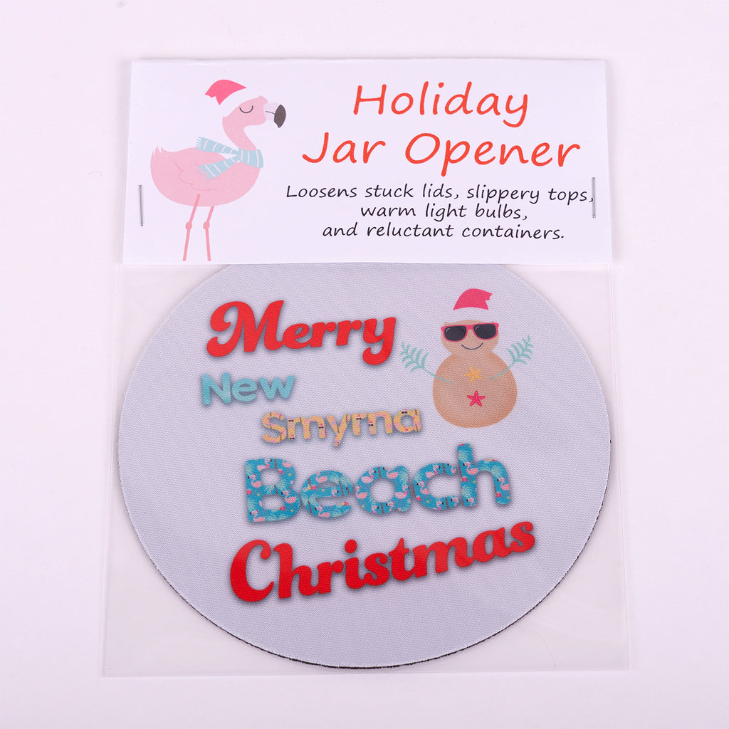 "5"" Jar Opener Merry New Smyrna Beach Christmas words with a sand snowman"