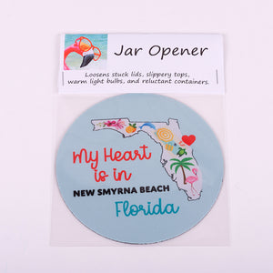 "5"" Jar Opener of State of Florida with Heart located at New Smyrna Beach"