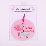 "3.5"" Aluminum Ornament with Funky Flamingo Christmas"