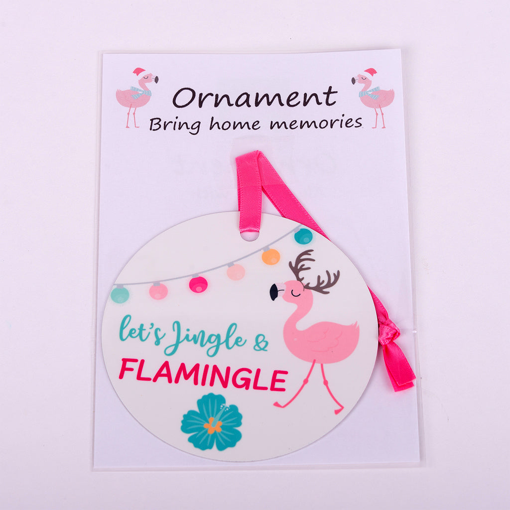 "3.5"" round aluminum ornament-Let's Jingle and Flamingle"