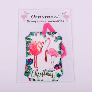Rectangle aluminum christmas ornament with 2 Flamingos-Merry Christmas