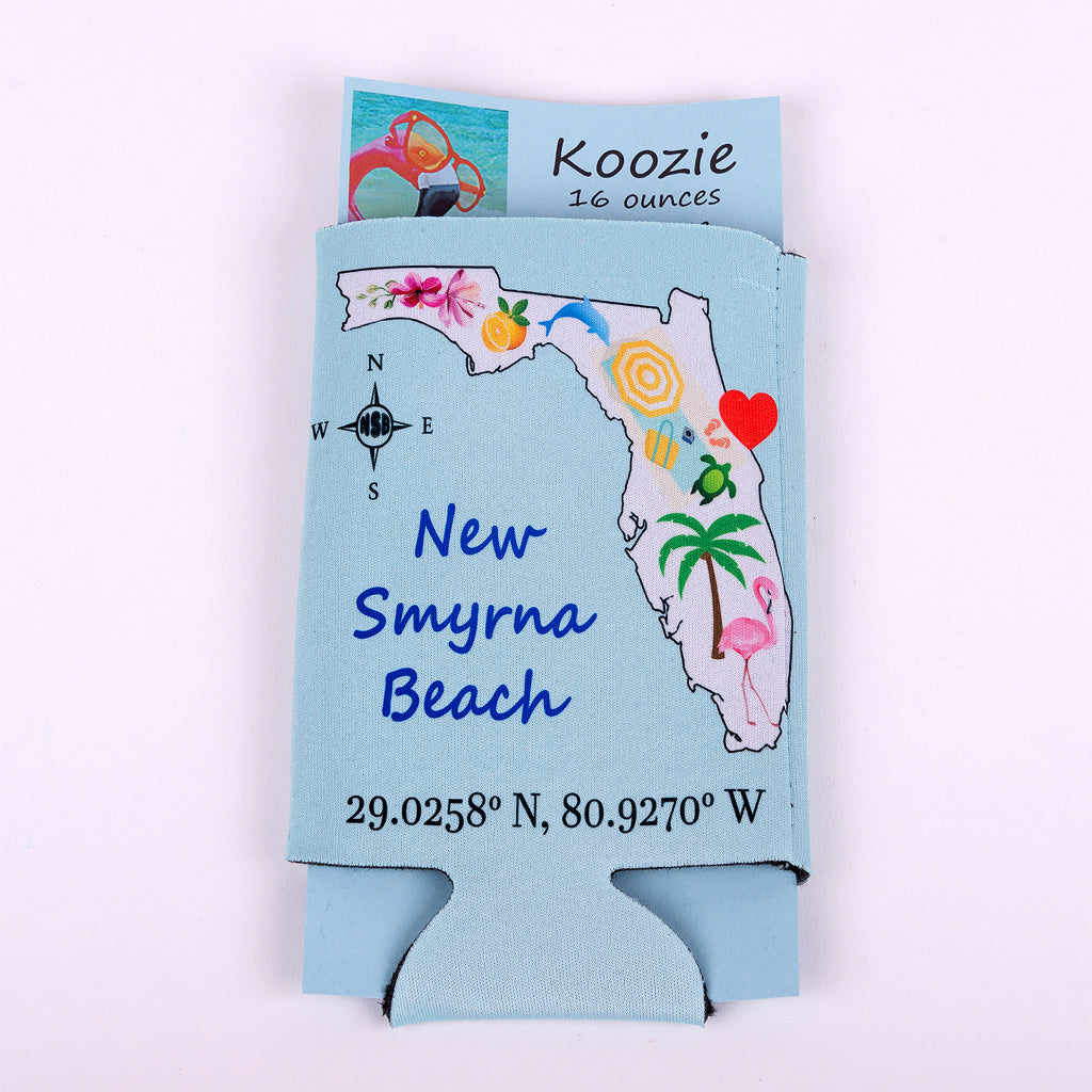 16 ounce Koozie State of Florida with the heart located at New Smyrna Beach