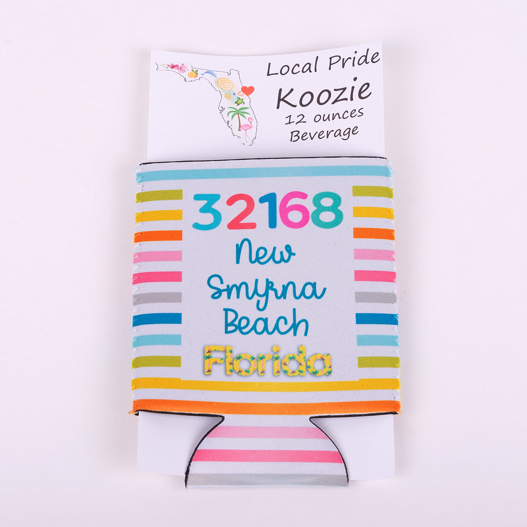 11 ounce koozie with zip code 32168 new smyrna beach florida